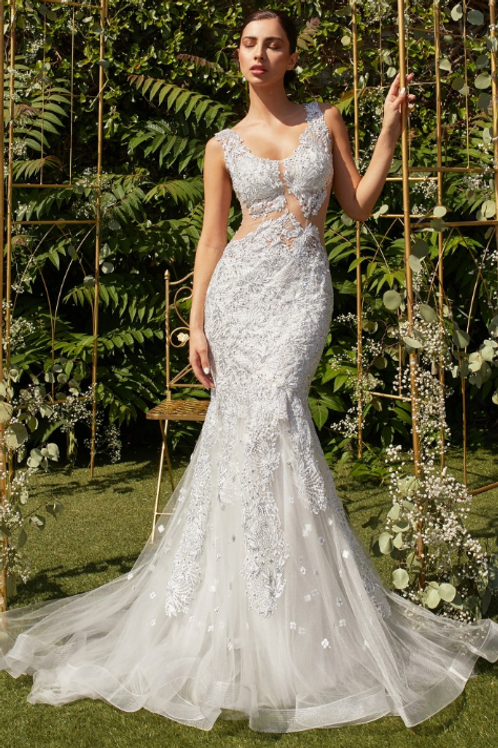 Beaded Flower Applique Gown