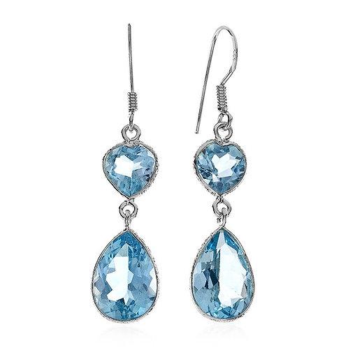 Earrings, 16.00 Carat Blue Topaz set in Sterling Silver