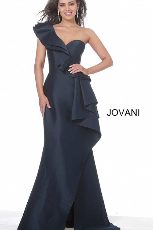 Jovani 02419 Navy One Shoulder Satin  Ruffle Evening Dress