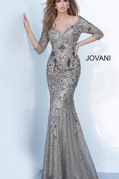 Jovani 02766 Off the Shoulder Floral Embroidered Evening Dress
