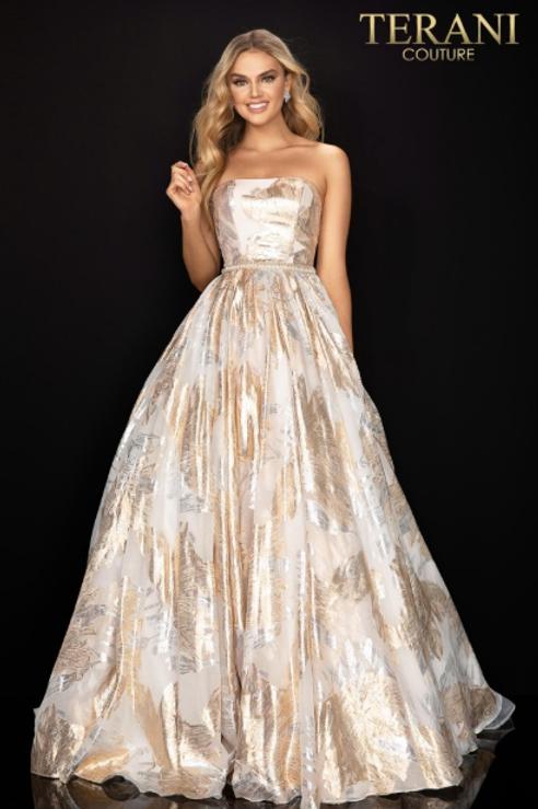 Terani Couture Strapless Straight Neck Ballgown W Train