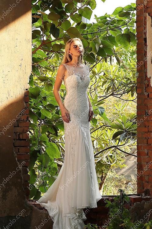 Illusion Bateau Neck Chiffon Mermaid Bridal Gown