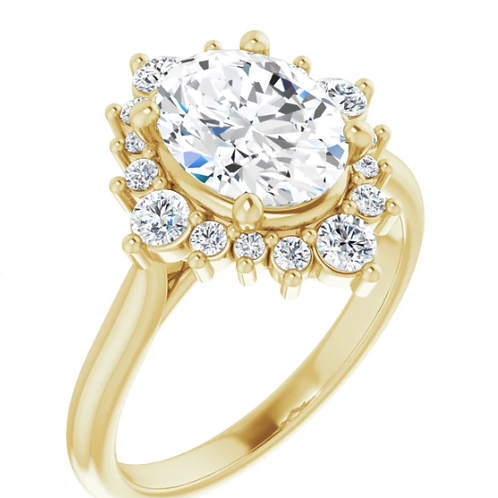14K Yellow Gold 2.5CT  Diamonds Oval Engagement Ring