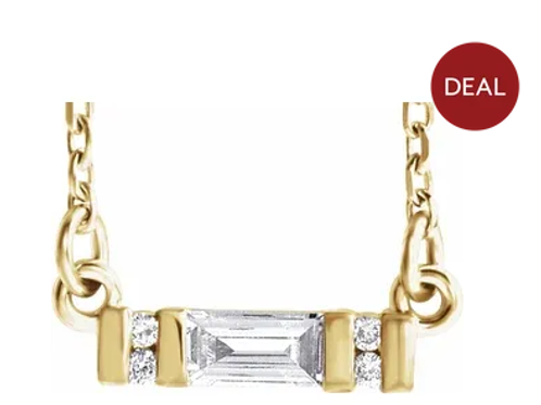 "14K Yellow 1/10 CTW Diamond Bar 16-18"" Necklace"