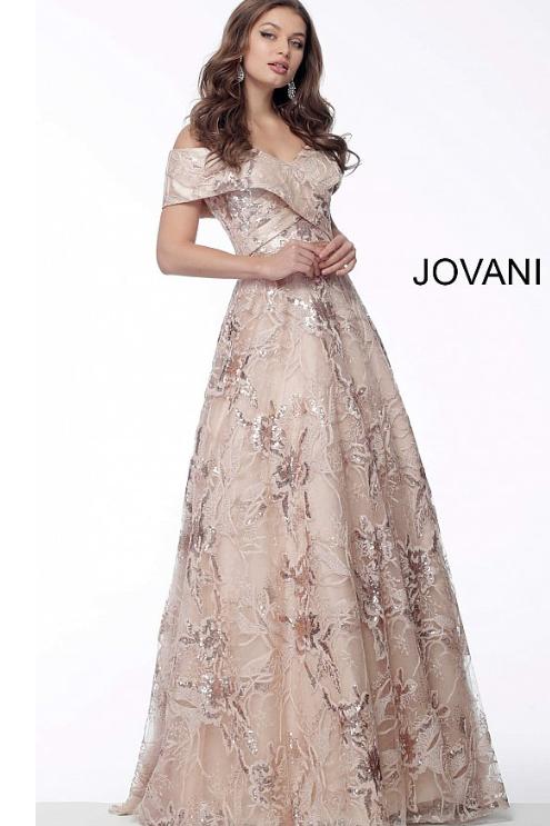 Jovani 67911 Nude Fold Over Neckline A-Line Evening Gown