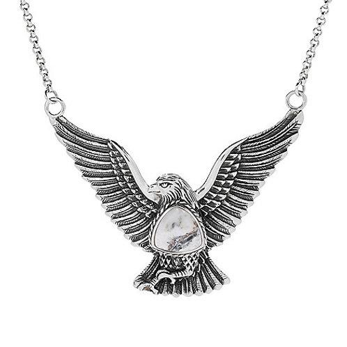 """Sterling Silver 18"""" White Buffalo Calcite Quartz Eagle Necklace"""
