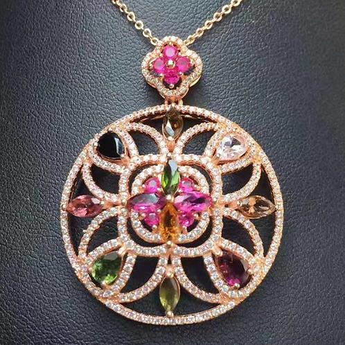 Tourmaline 925 SilverPendant Necklace