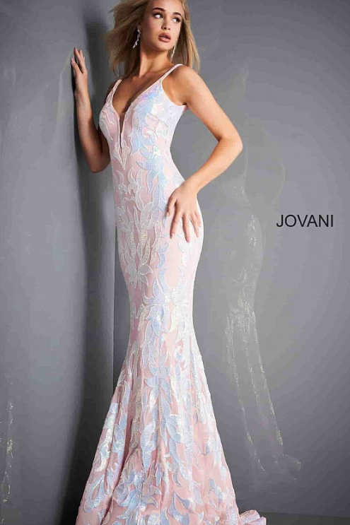 Plunging Neckline Fitted Prom Dress 3263