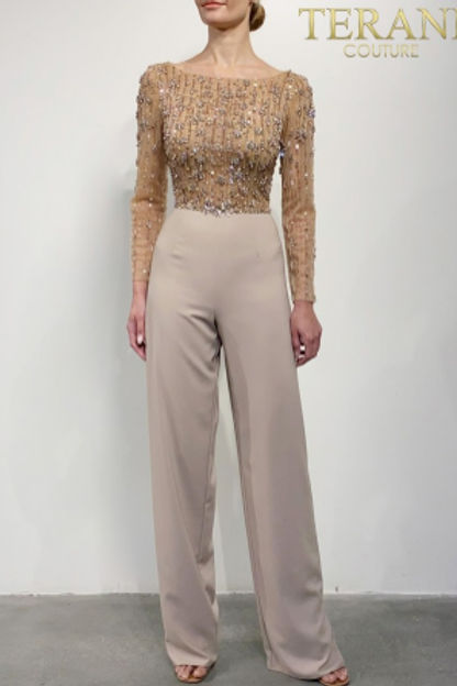 Terani Couture Crepe Embellished Jumpsuit