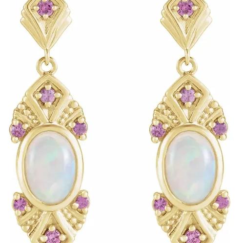 14K Yellow Ethiopian Opal & Pink Sapphire Vintage-Inspired Earrings
