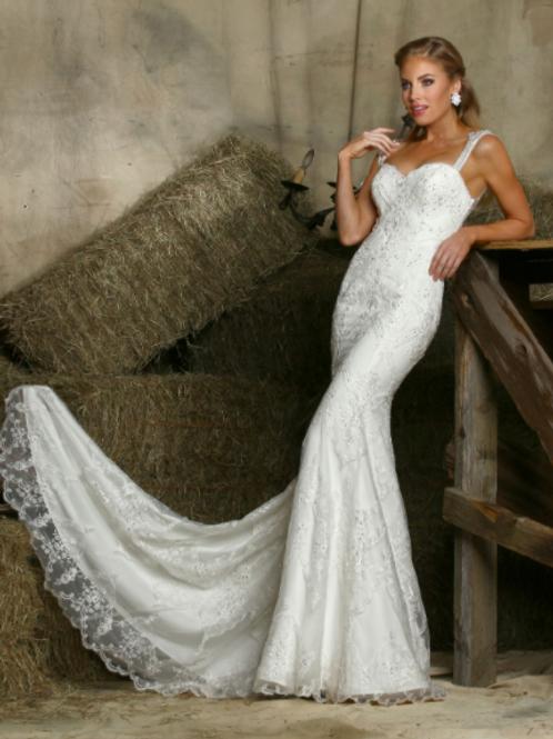DA VINCI  Embellished CrystalsLace Bridal GownWhite 50338