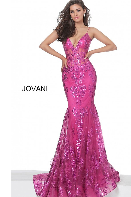 Jovani 3675 Berry Mermaid Prom Dress