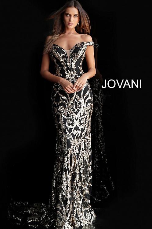 Black Gold Off the Shoulder Embellished Prom Dress 63349