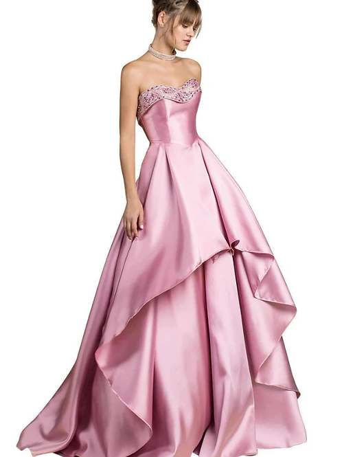 Satin Storybook Strapless Gown With Ruffles