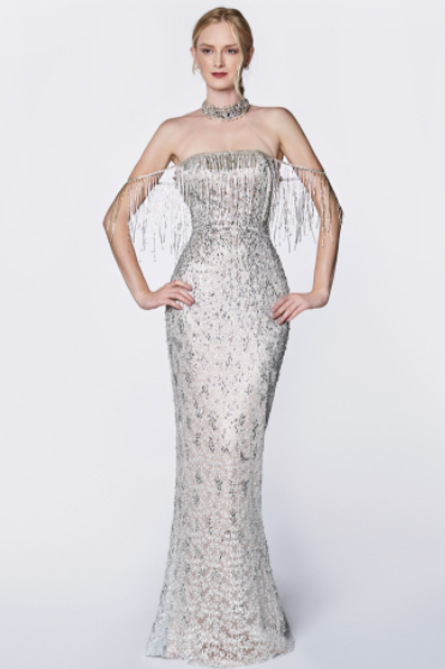 Define Elegance In This Off The Shoulder Fringe Beaded Gown