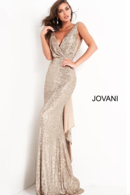 ovani 03854 Gold Sequin Plunging Neckline Evening Dress