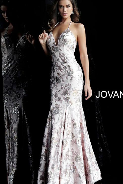 Blush Embellished Halter Neck Jovani Dress 63583