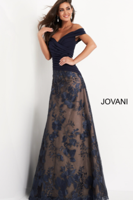 Jovani 02852 Navy Pleated Bodice A Line Mother of the Bride Dress
