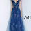 Thumbnail: JVN2342 Blue Print V Neck A-Line Prom Gown