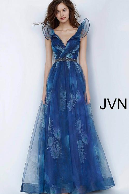 JVN2342 Blue Print V Neck A-Line Prom Gown