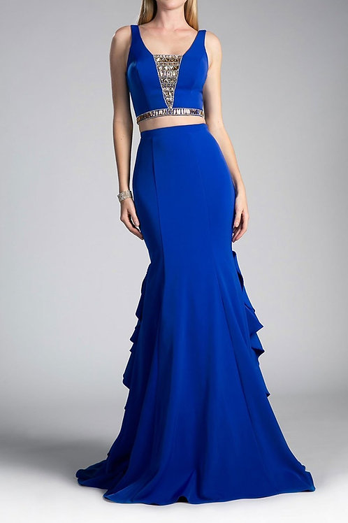 EVENING GOWN - NAVY TWO-PIECE ANDREA LEO GOWN