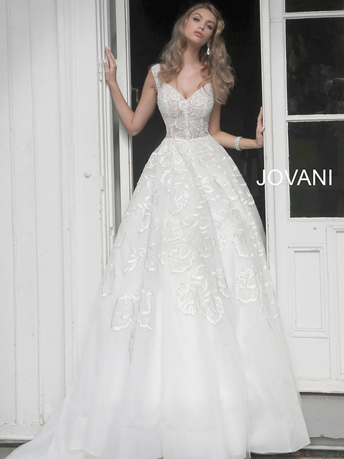 Off White Embellished V Neck Wedding Dress JB65936
