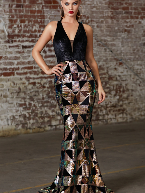 Fitted Sequin Gown With Geometric Print