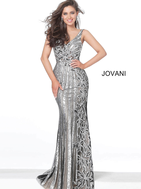Jovani 03209 Black Silver V Neck Embellished Evening Dress