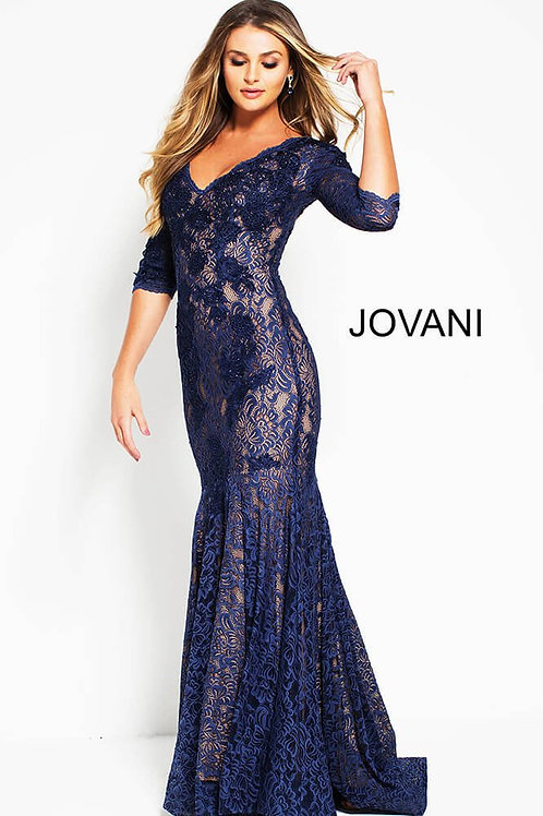 Navy V Neck Embroidered Lace Evening Dress 54835