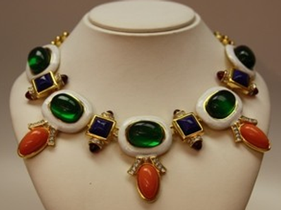 White Enam 5 Emerald/lapis/ruby/coral Drop Deco