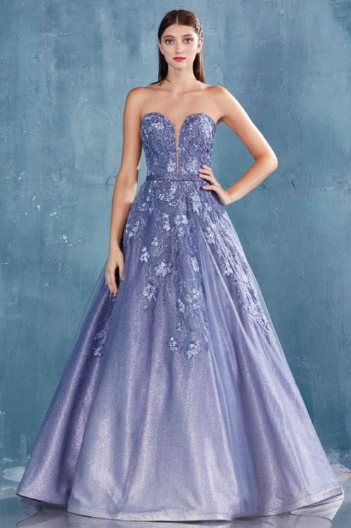 ANDREA & LEO Amalia Strapless Ombre Glitter Lace Ballgown