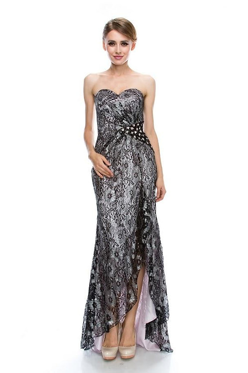 EVENING GOWN - BLACK/LAVENDER STRAPLESS SWEETHEART SHEATH LACE BEADING