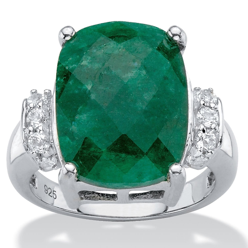 Genuine Emerald Ring Sterling Silver