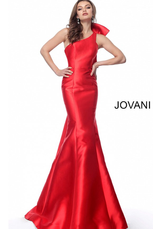 Jovani 62463 Red One Shoulder Sleeveless Evening Gown