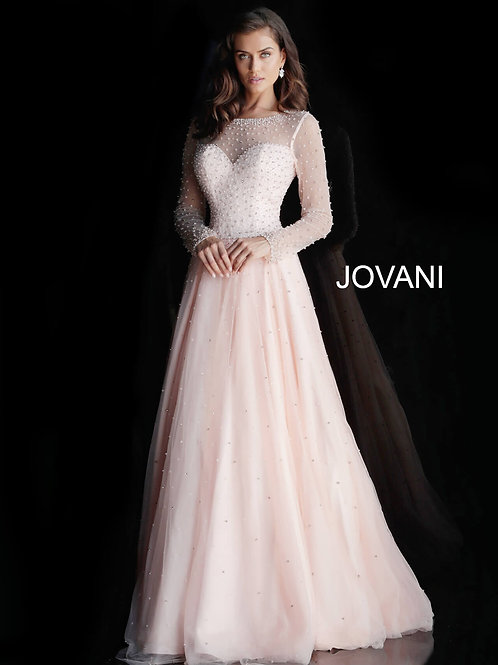 Blush Long Sleeves V Back Evening Gown 61118