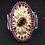 Thumbnail: Natural Rhodolite Garnet Gemstone Sunflower 925 Sterling Silver Ring