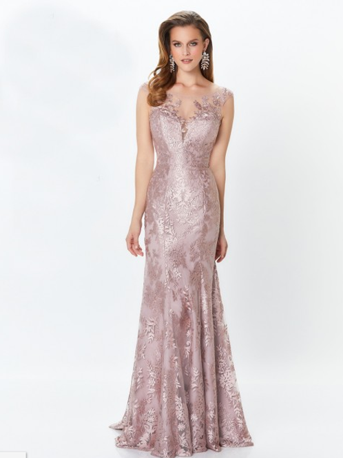 Mon Cheri Rose Quartz Eembroidered Lace Gown