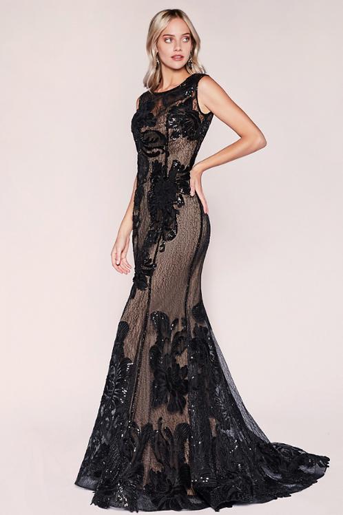 Bateau Classic Sequined Stretch Lace Sheath Gown
