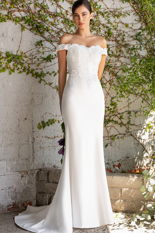 Cinderella Divine Fitted Lace Applique OnStretch Jersey Gown