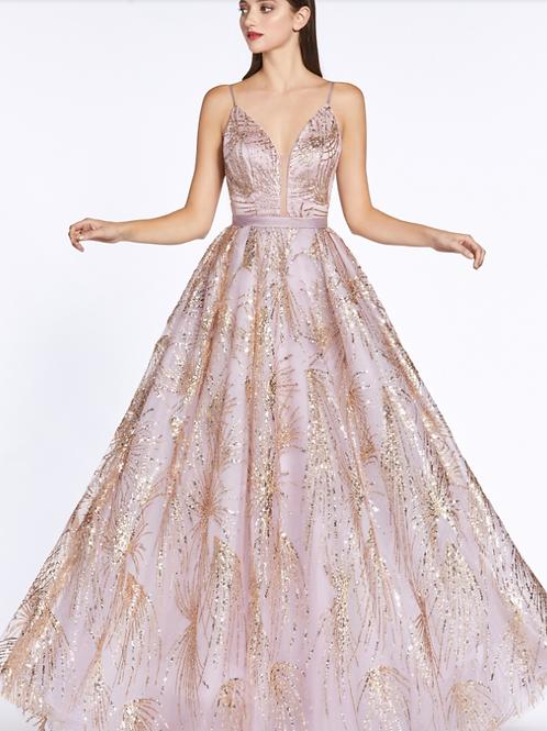 Ball Gown W/ Glitter Details & Plunge Neckline