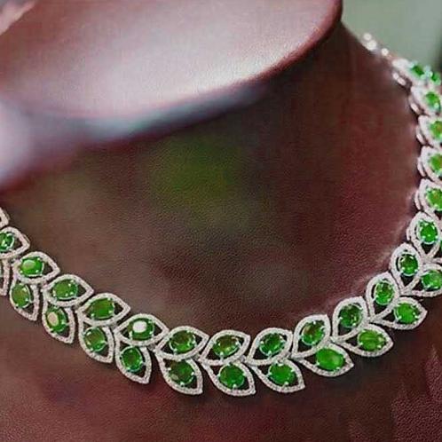 Designer Emerald NecklaceSet In Sterling Silver