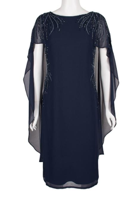 Adrianna Papell Embellished Boat Neck Illusion Back Chiffon Dress