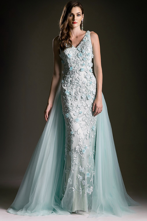 Mignon Manley Stunning Chiffon Lace Gown