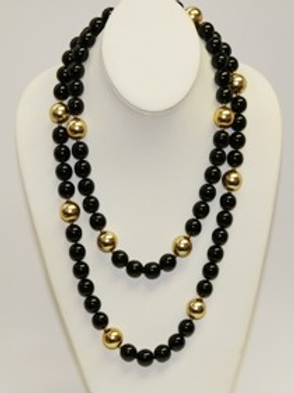 Black And Satin Gold Bead Necklace