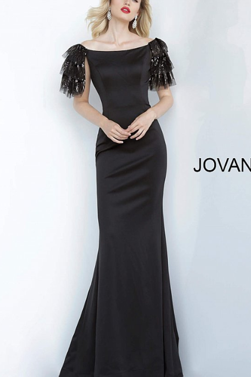 Jovani 1089 Black Off the Shoulder Fitted Evening Dress