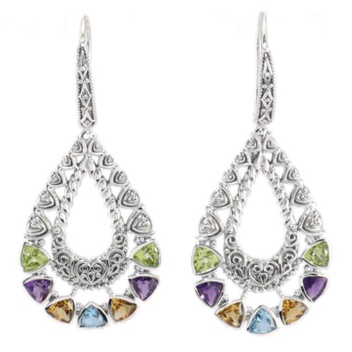 Pear Shape Multi Gem Drop Earrings