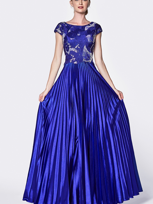 A-LinePleated Gown with Cap Sleeve Lace Bodice