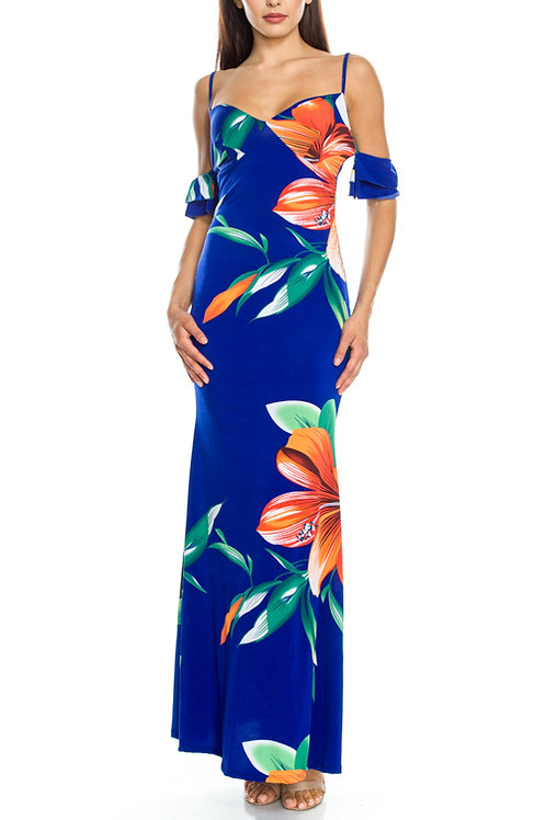 Tropical Big Floral Print Ruffle Sleeves Open Shoulder Maxi Dress