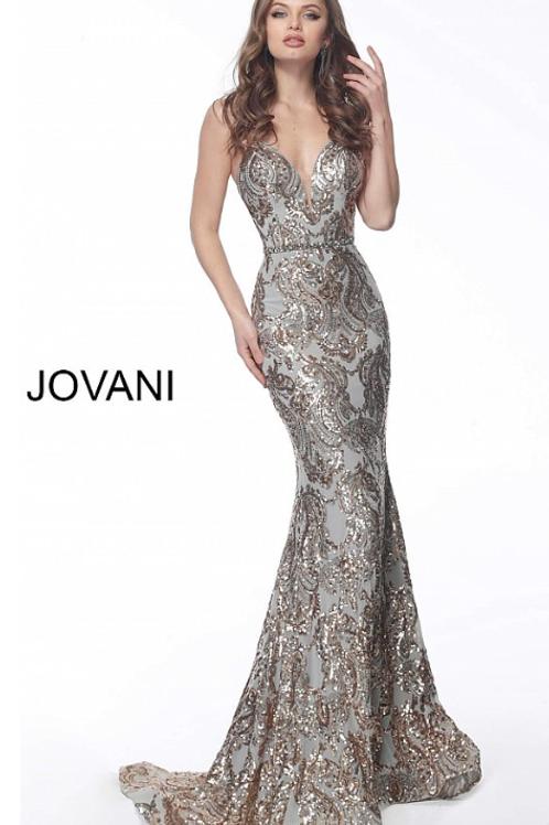 JOVANI Gold and Silver Embellished Evening / Prom Dress 67347