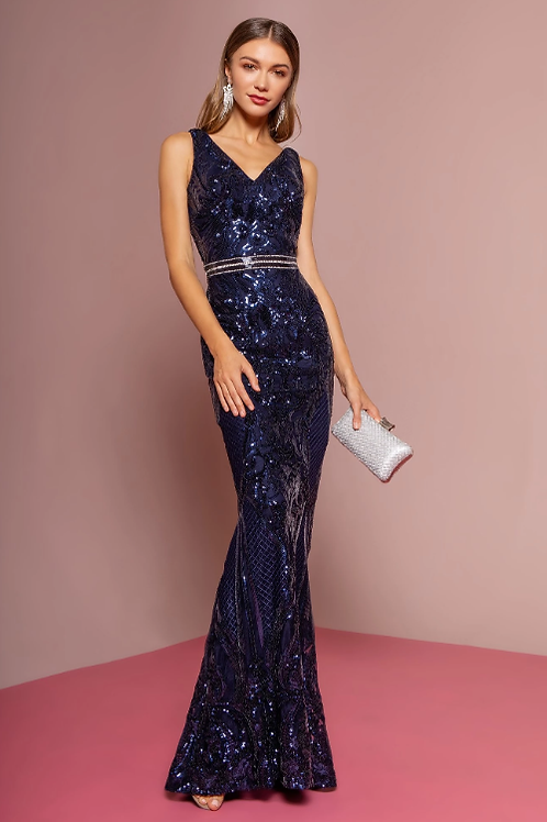 Mignon Manley Sequined Bodice and Jeweled Belt Gown